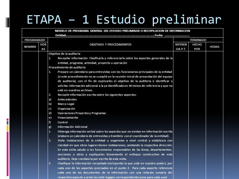 ETAPA – 1 Estudio preliminar