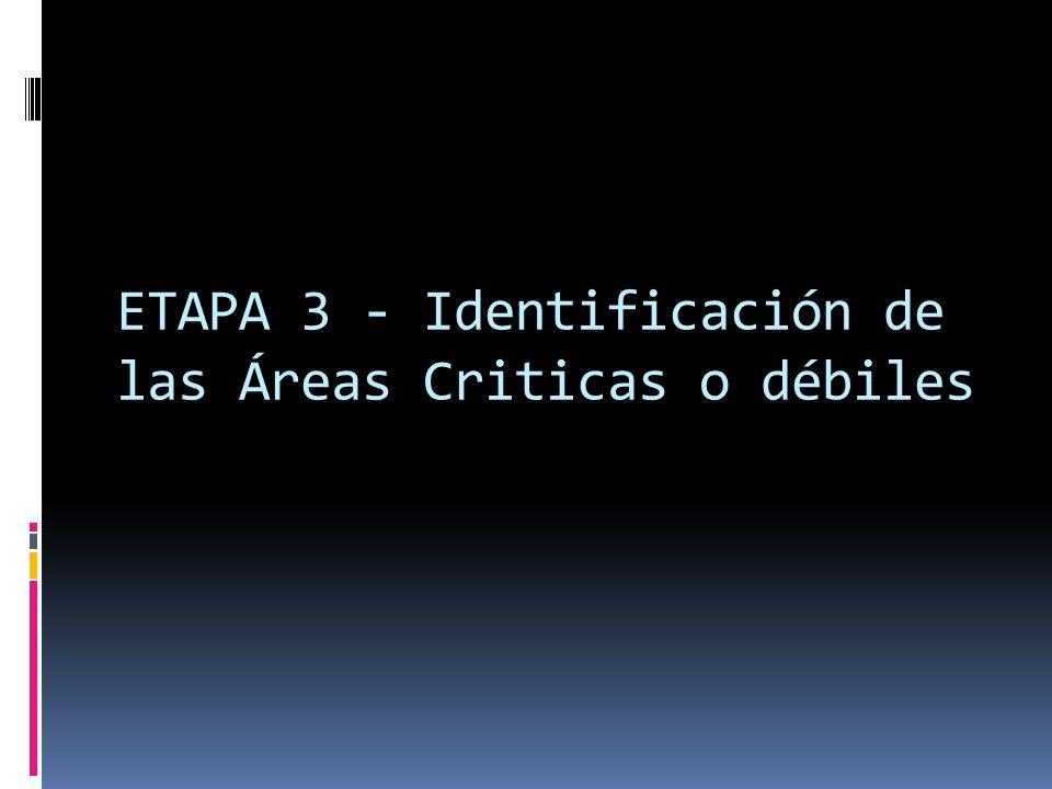 ETAPA 3 - Identificación de las Áreas Criticas o débiles