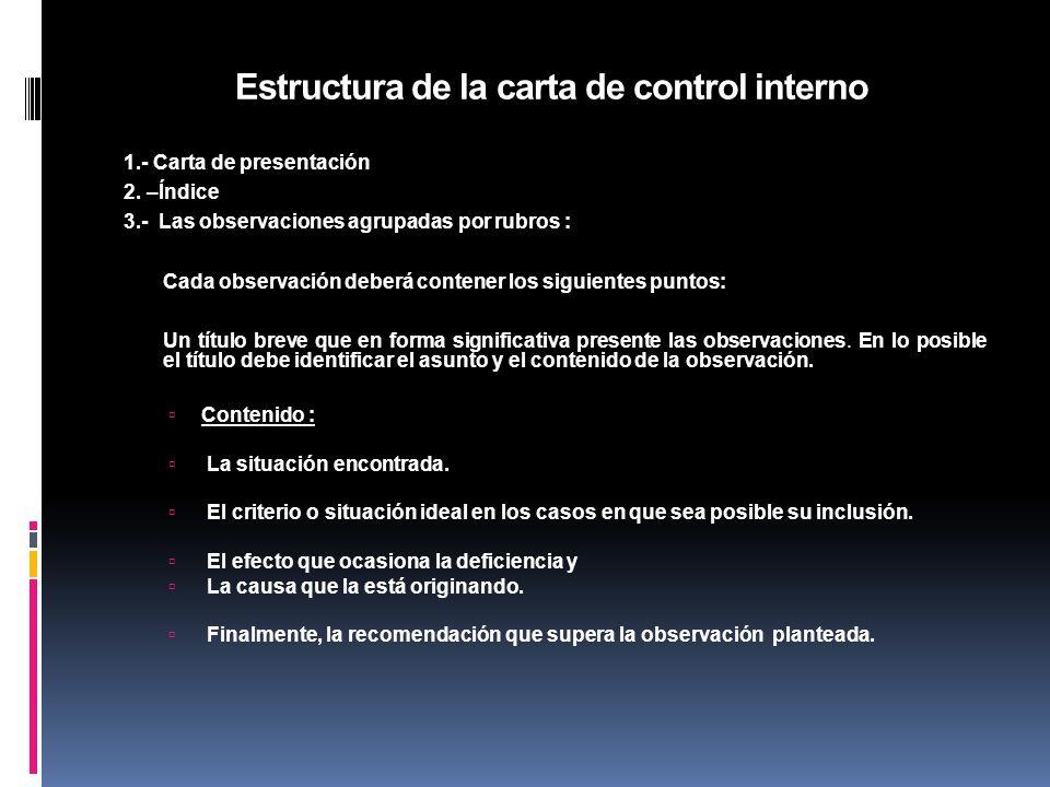 Estructura de la carta de control interno