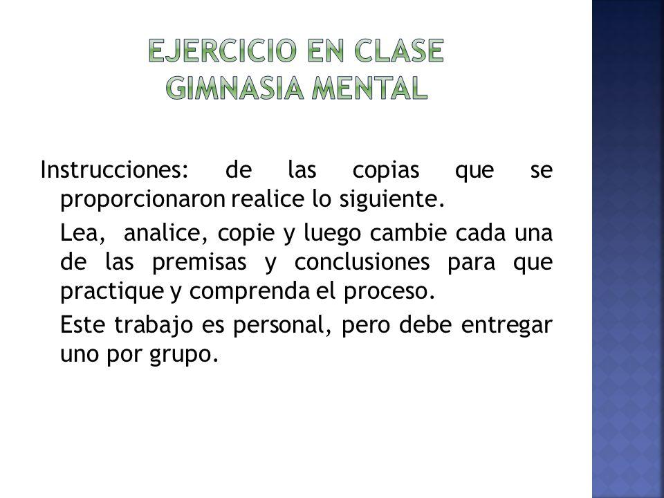 Ejercicio en clase gimnasia mental