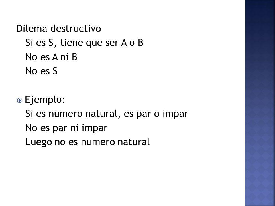 Dilema destructivo Si es S, tiene que ser A o B. No es A ni B. No es S. Ejemplo: Si es numero natural, es par o impar.
