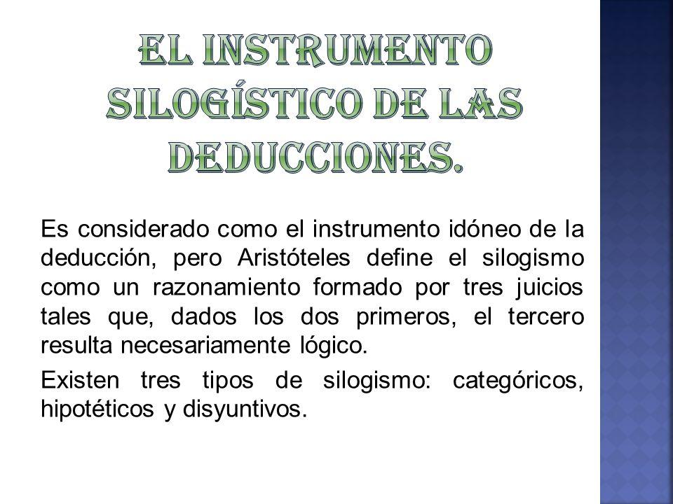 El Instrumento Silogístico de las Deducciones.