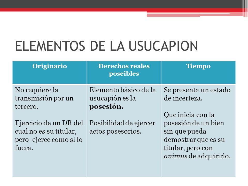 ELEMENTOS DE LA USUCAPION