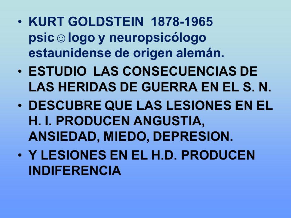 KURT GOLDSTEIN 1878-1965 psic☺logo y neuropsicólogo estaunidense de origen alemán.