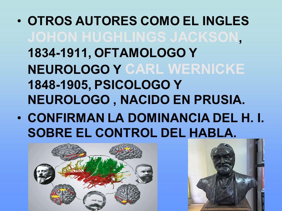 OTROS AUTORES COMO EL INGLES JOHON HUGHLINGS JACKSON, 1834-1911, OFTAMOLOGO Y NEUROLOGO Y CARL WERNICKE 1848-1905, PSICOLOGO Y NEUROLOGO , NACIDO EN PRUSIA.