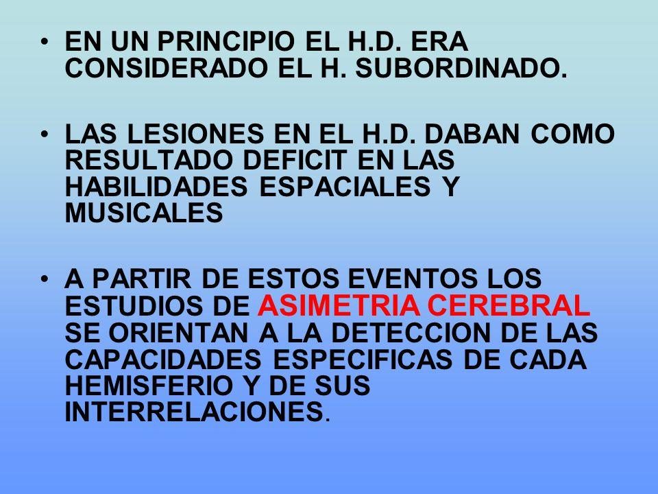 EN UN PRINCIPIO EL H.D. ERA CONSIDERADO EL H. SUBORDINADO.