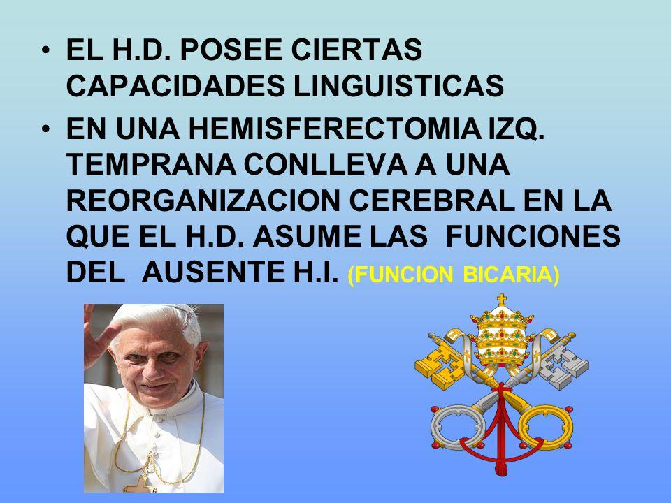 EL H.D. POSEE CIERTAS CAPACIDADES LINGUISTICAS