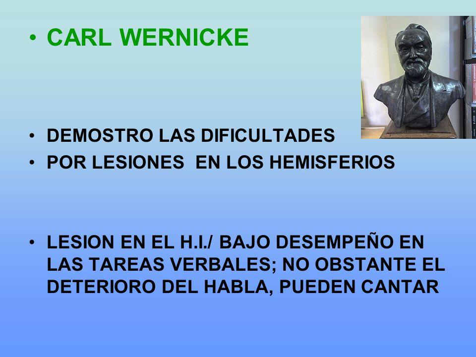 CARL WERNICKE DEMOSTRO LAS DIFICULTADES