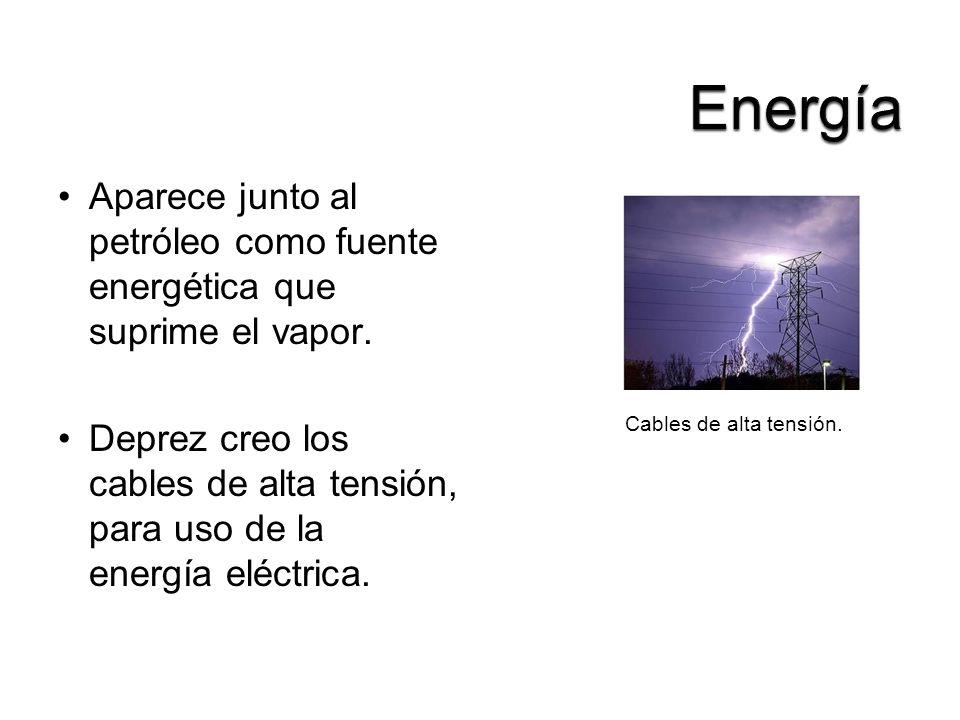 Energía Aparece junto al petróleo como fuente energética que suprime el vapor.