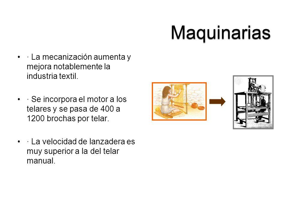 Maquinarias · La mecanización aumenta y mejora notablemente la industria textil.