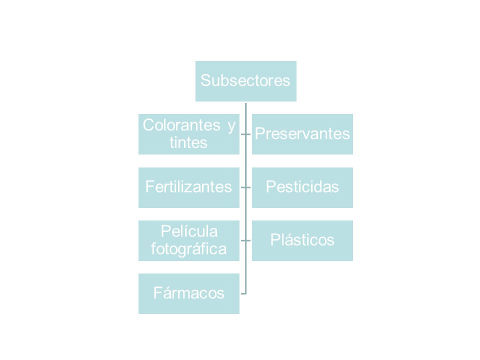 Subsectores Colorantes y tintes. Preservantes. Fertilizantes. Pesticidas. Película fotográfica.