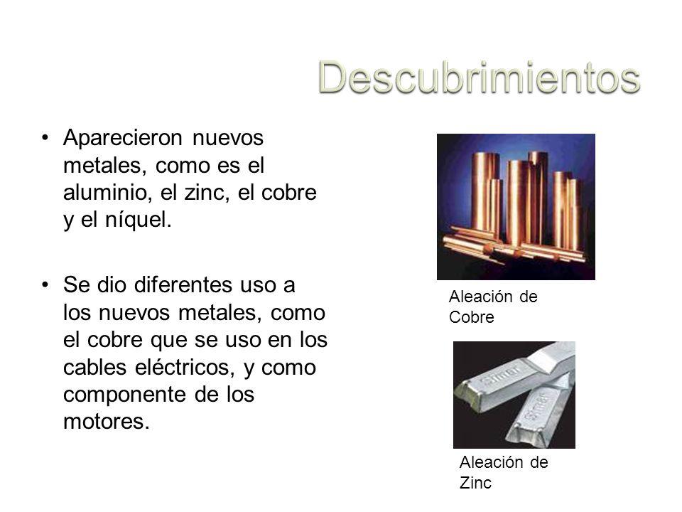 Descubrimientos Aparecieron nuevos metales, como es el aluminio, el zinc, el cobre y el níquel.
