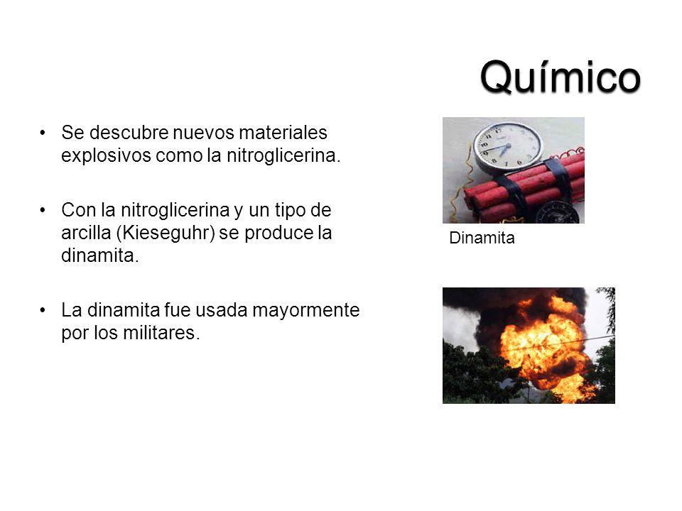 Químico Se descubre nuevos materiales explosivos como la nitroglicerina.