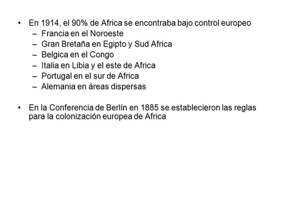 En 1914, el 90% de Africa se encontraba bajo control europeo