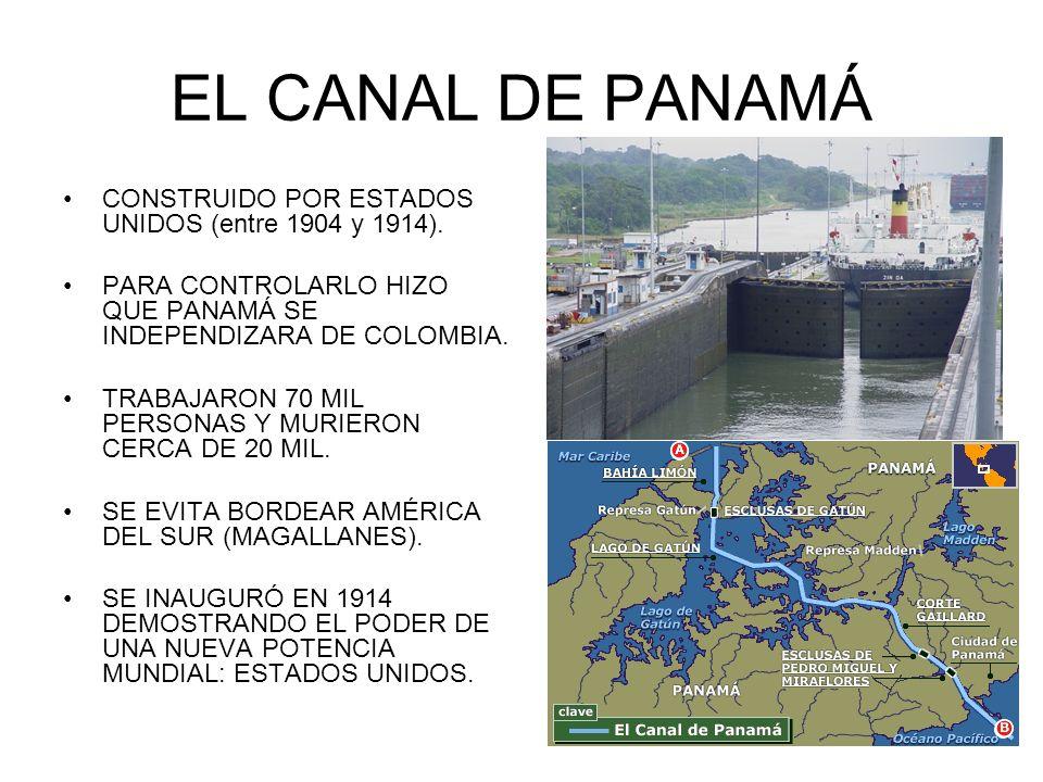 EL CANAL DE PANAMÁ CONSTRUIDO POR ESTADOS UNIDOS (entre 1904 y 1914).