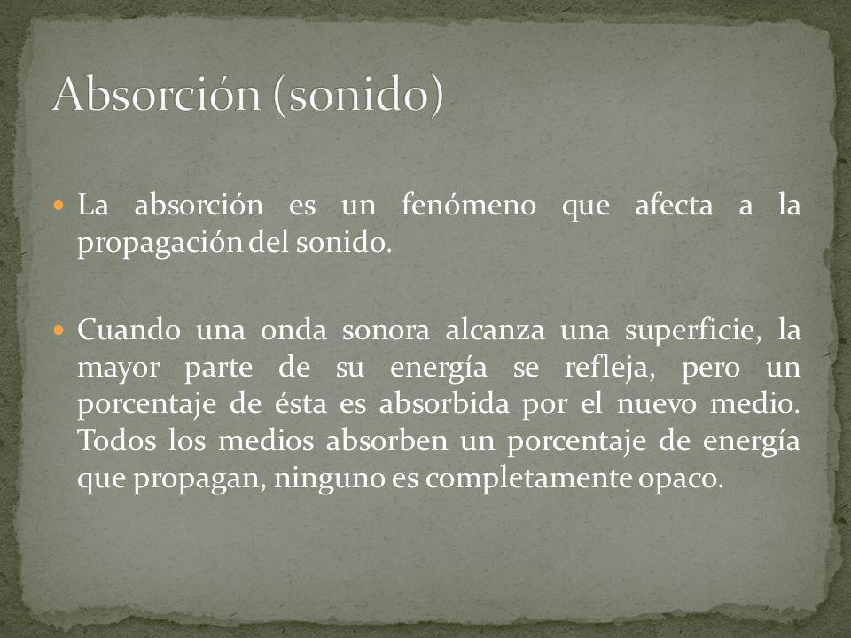 Absorción (sonido) La absorción es un fenómeno que afecta a la propagación del sonido.