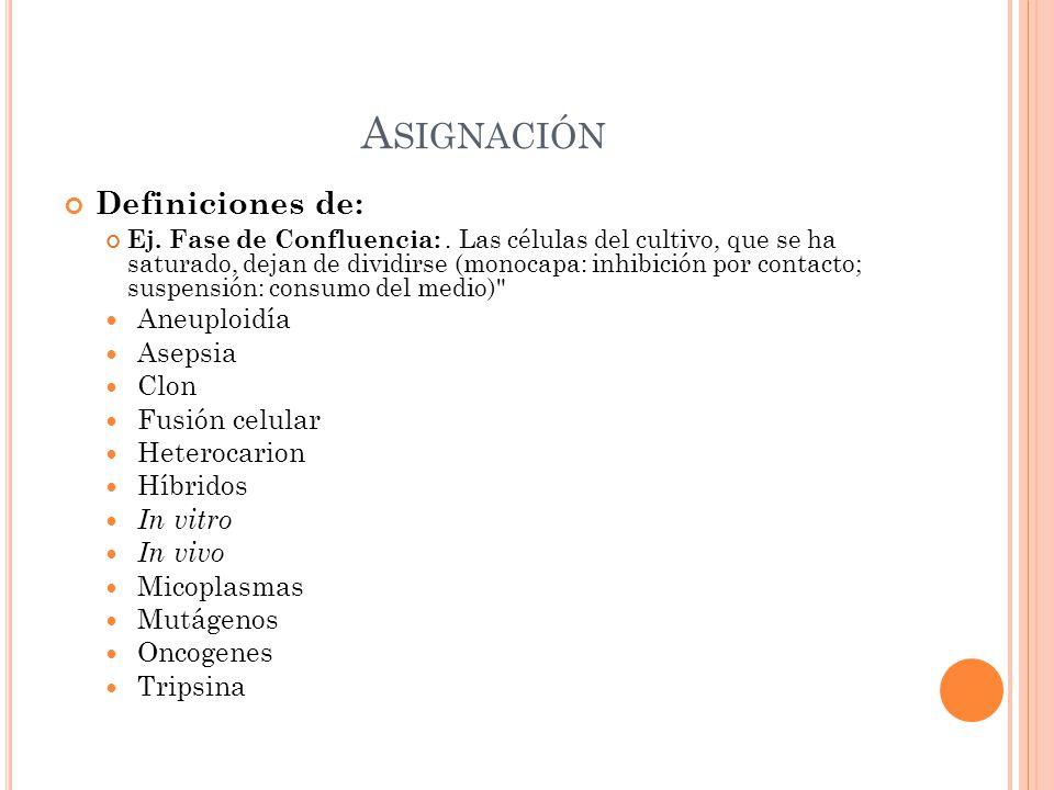Asignación Definiciones de: Aneuploidía Asepsia Clon Fusión celular