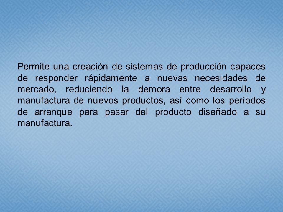 Permite una creación de sistemas de producción capaces de responder rápidamente a nuevas necesidades de mercado, reduciendo la demora entre desarrollo y manufactura de nuevos productos, así como los períodos de arranque para pasar del producto diseñado a su manufactura.
