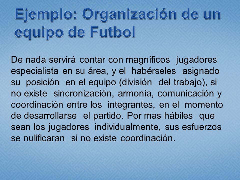 Ejemplo: Organización de un equipo de Futbol