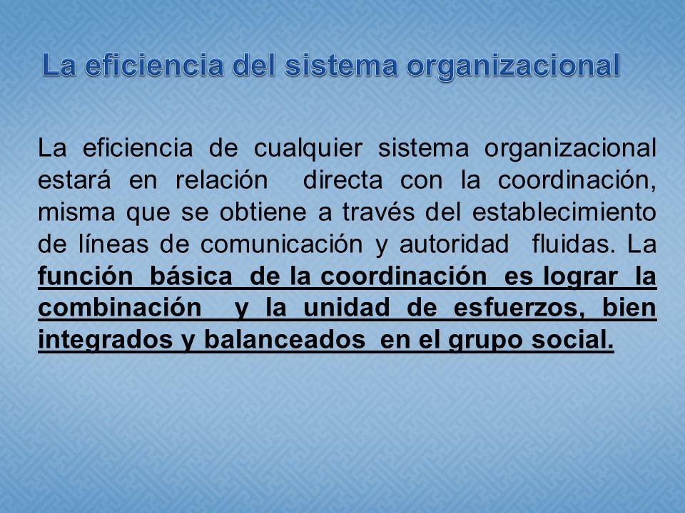 La eficiencia del sistema organizacional
