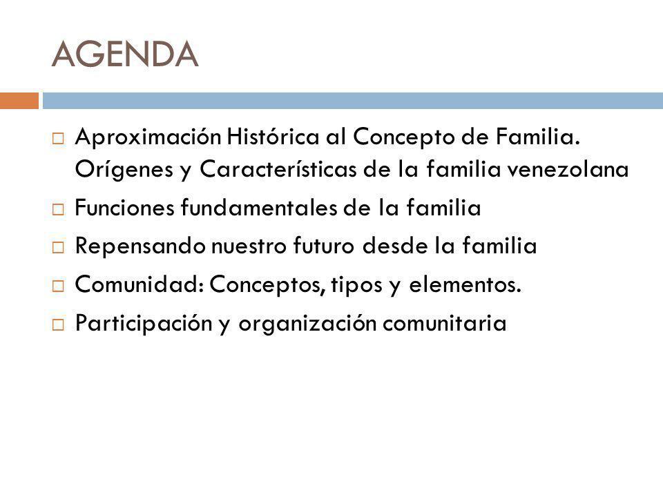 AGENDA Aproximación Histórica al Concepto de Familia. Orígenes y Características de la familia venezolana.