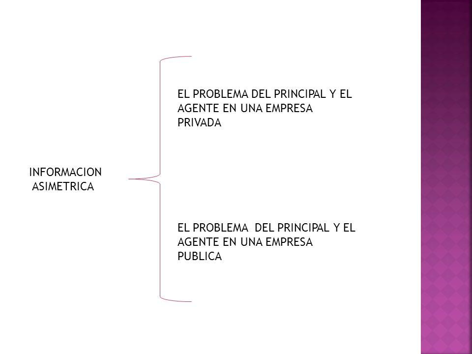 EL PROBLEMA DEL PRINCIPAL Y EL AGENTE EN UNA EMPRESA PRIVADA