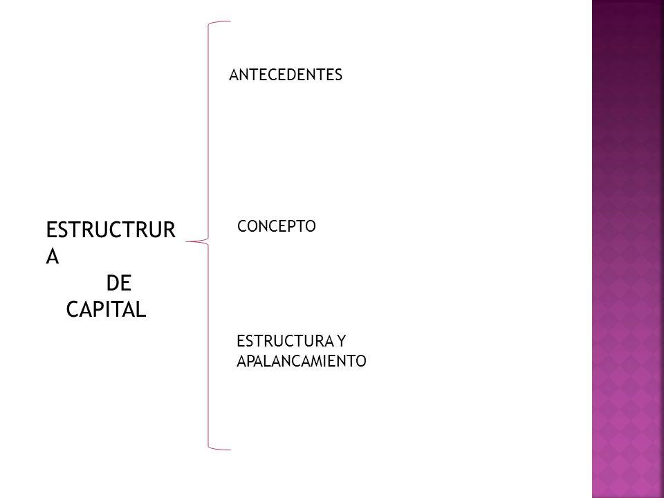 ESTRUCTRURA DE CAPITAL ANTECEDENTES CONCEPTO