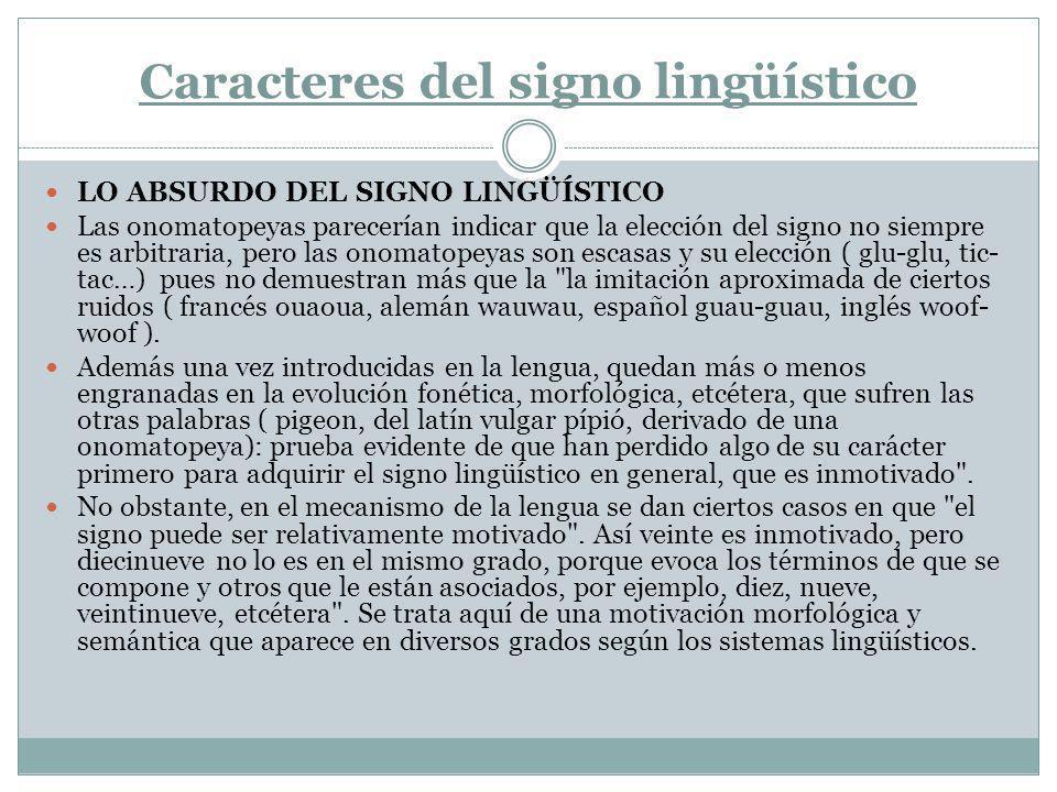 Caracteres del signo lingüístico