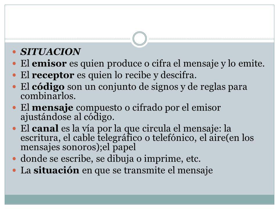 SITUACION El emisor es quien produce o cifra el mensaje y lo emite. El receptor es quien lo recibe y descifra.