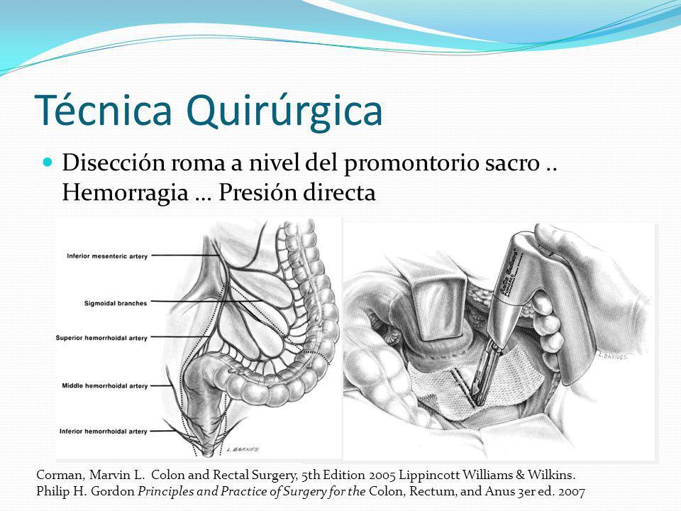Técnica Quirúrgica Disección roma a nivel del promontorio sacro .. Hemorragia … Presión directa.