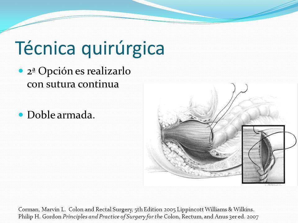 Técnica quirúrgica 2ª Opción es realizarlo con sutura continua