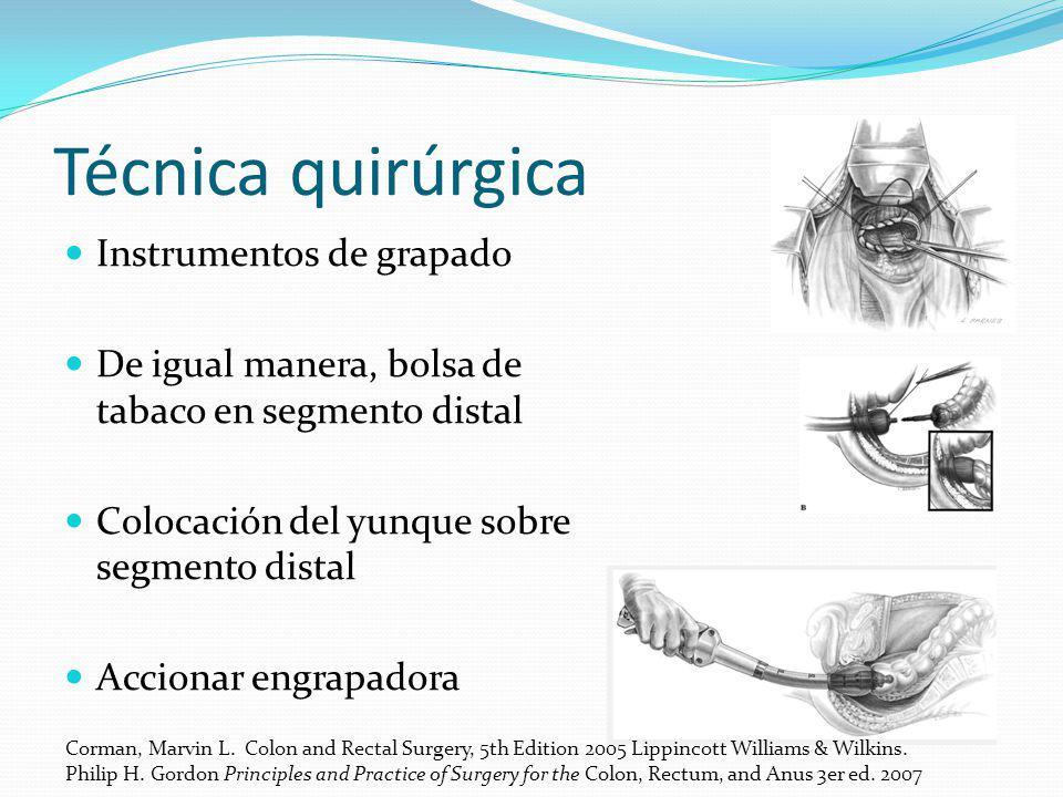 Técnica quirúrgica Instrumentos de grapado
