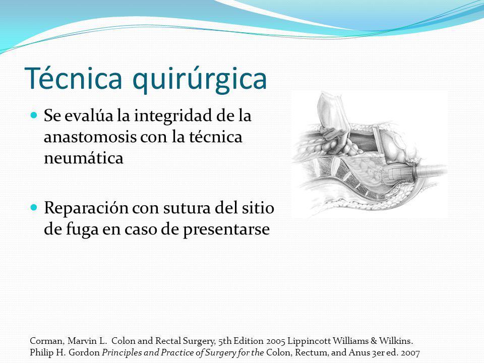 Técnica quirúrgica Se evalúa la integridad de la anastomosis con la técnica neumática.