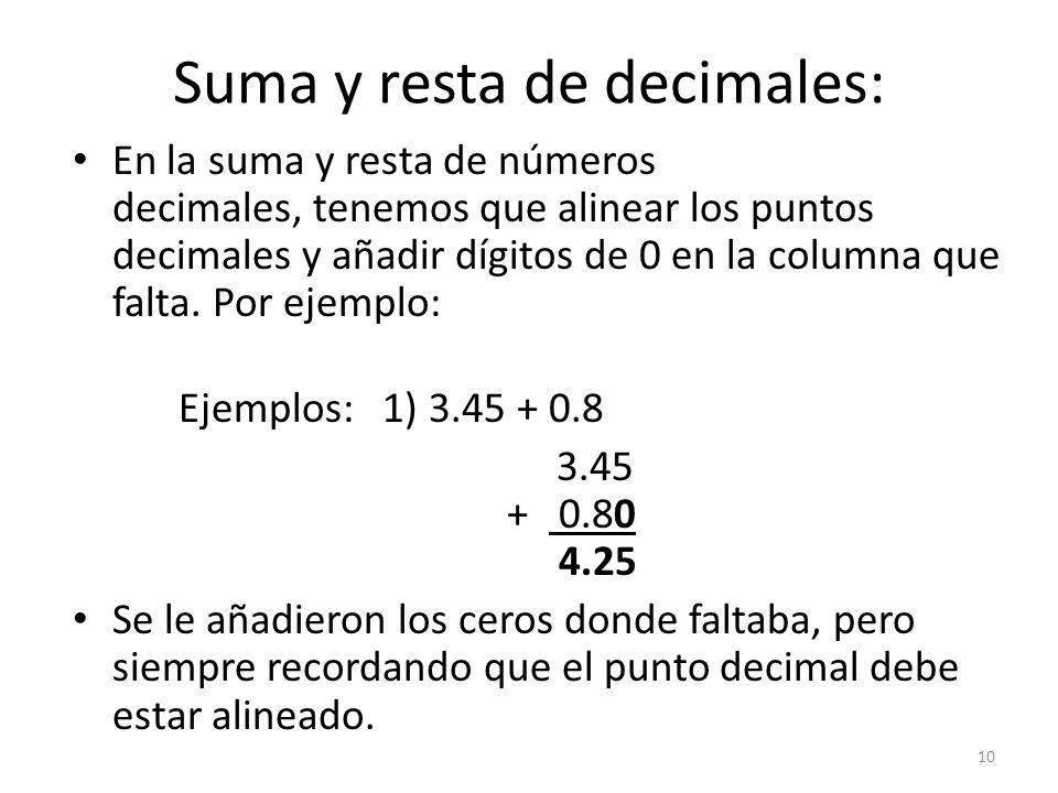 Suma y resta de decimales: