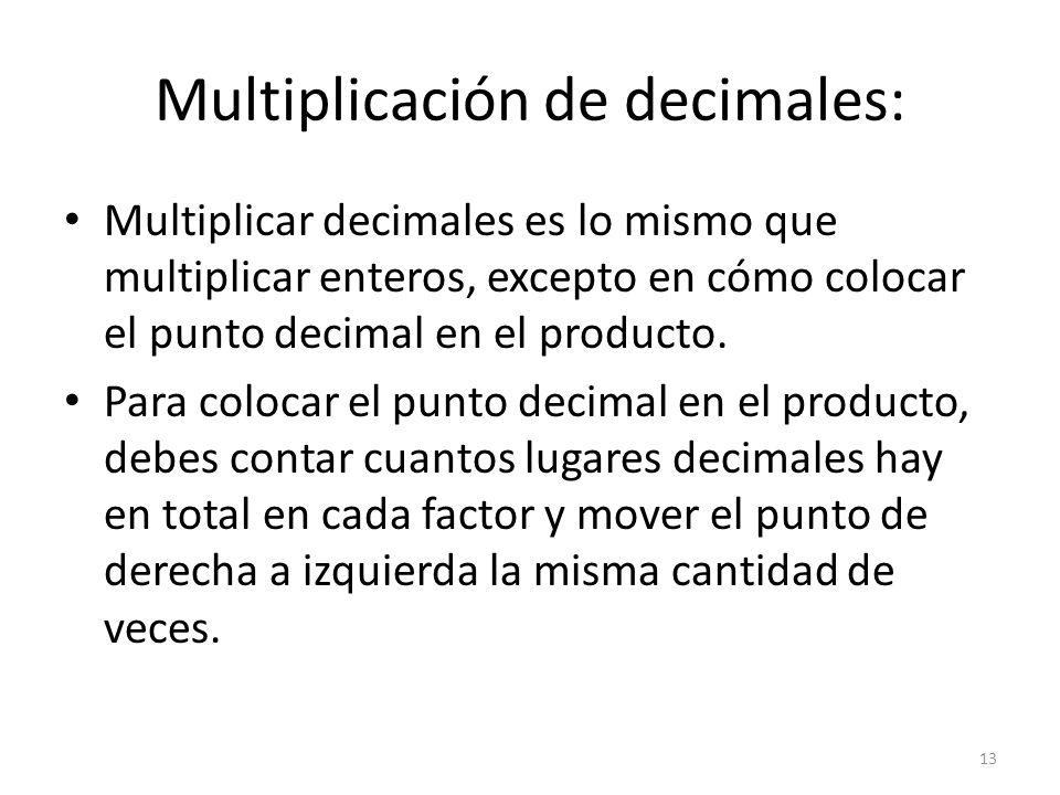 Multiplicación de decimales: