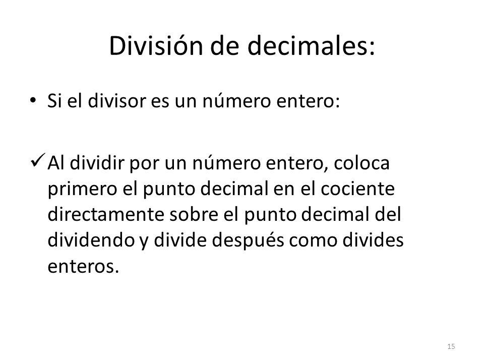 División de decimales: