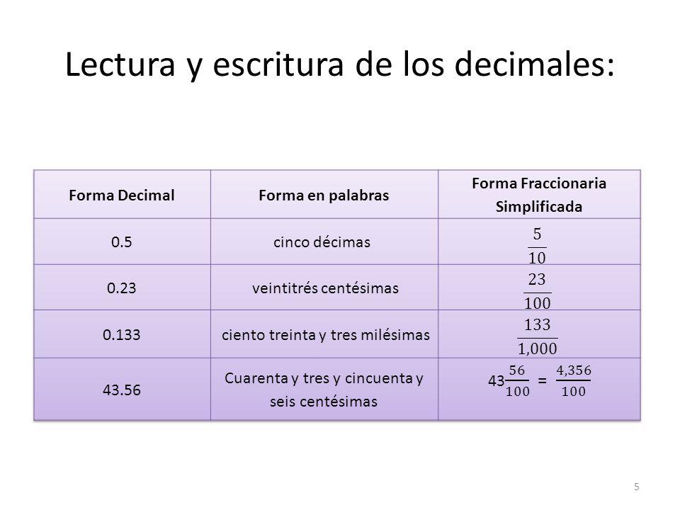 Lectura y escritura de los decimales: