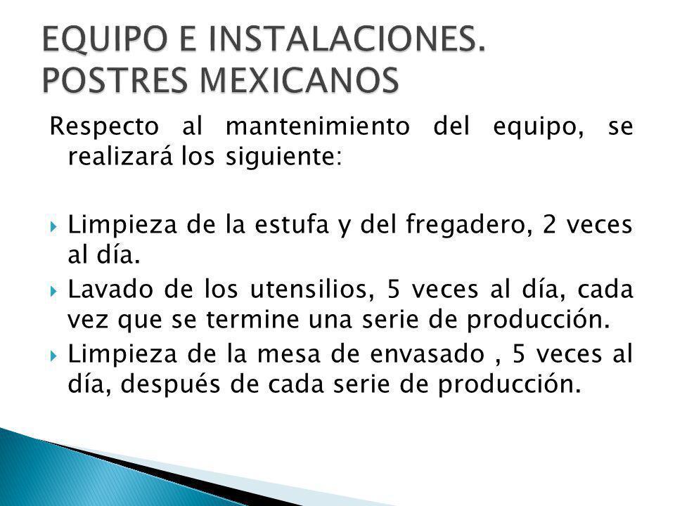 EQUIPO E INSTALACIONES. POSTRES MEXICANOS