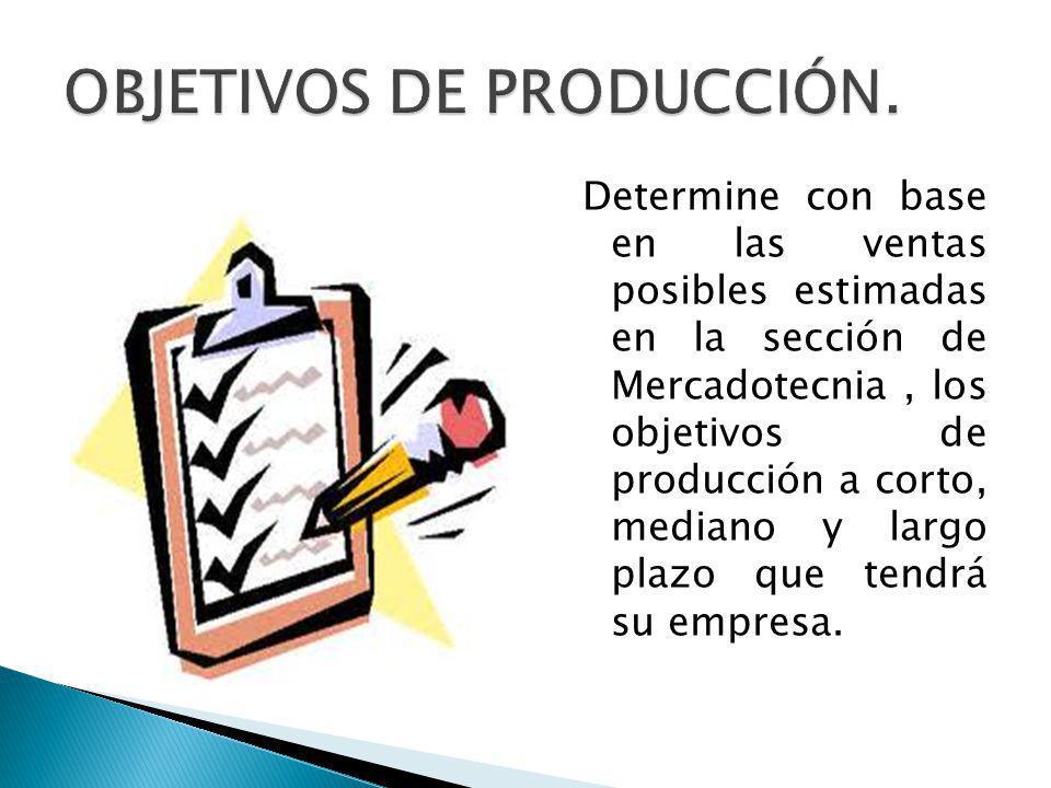 OBJETIVOS DE PRODUCCIÓN.