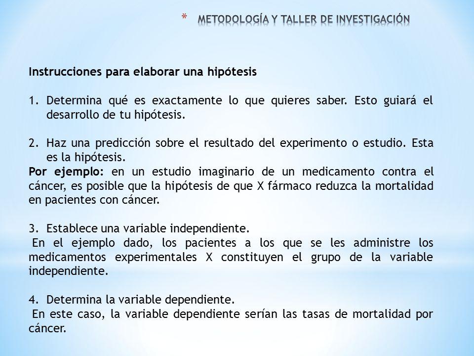 Instrucciones para elaborar una hipótesis