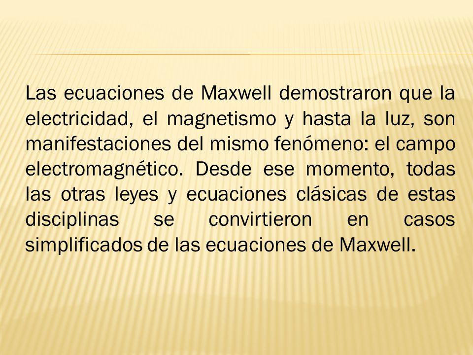 Las ecuaciones de Maxwell demostraron que la electricidad, el magnetismo y hasta la luz, son manifestaciones del mismo fenómeno: el campo electromagnético.