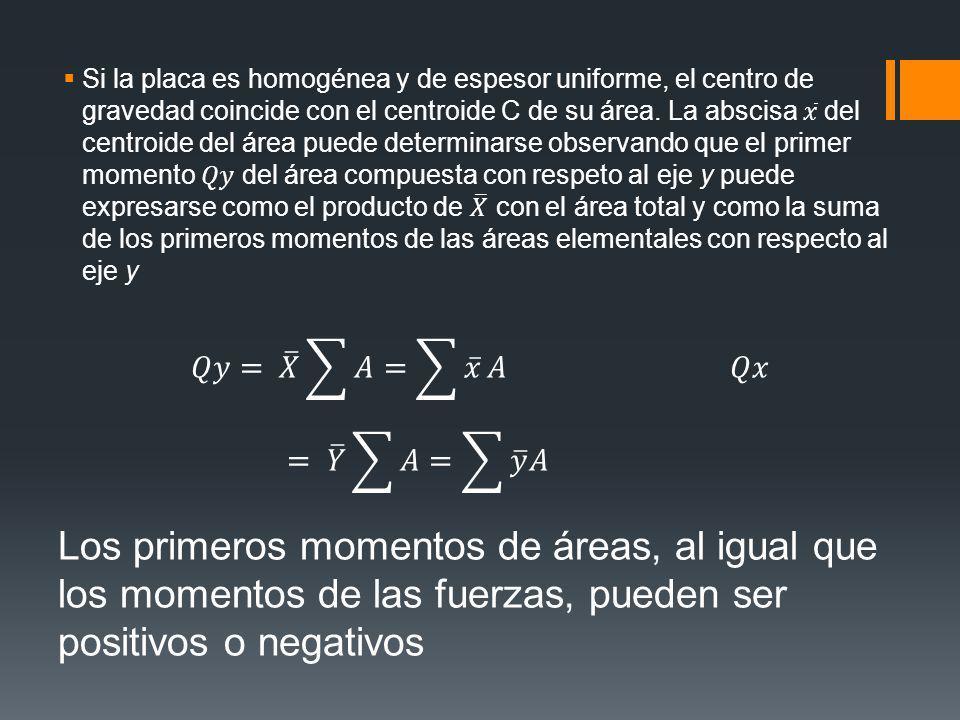 Si la placa es homogénea y de espesor uniforme, el centro de gravedad coincide con el centroide C de su área. La abscisa 𝑥 del centroide del área puede determinarse observando que el primer momento 𝑄𝑦 del área compuesta con respeto al eje y puede expresarse como el producto de 𝑋 con el área total y como la suma de los primeros momentos de las áreas elementales con respecto al eje y