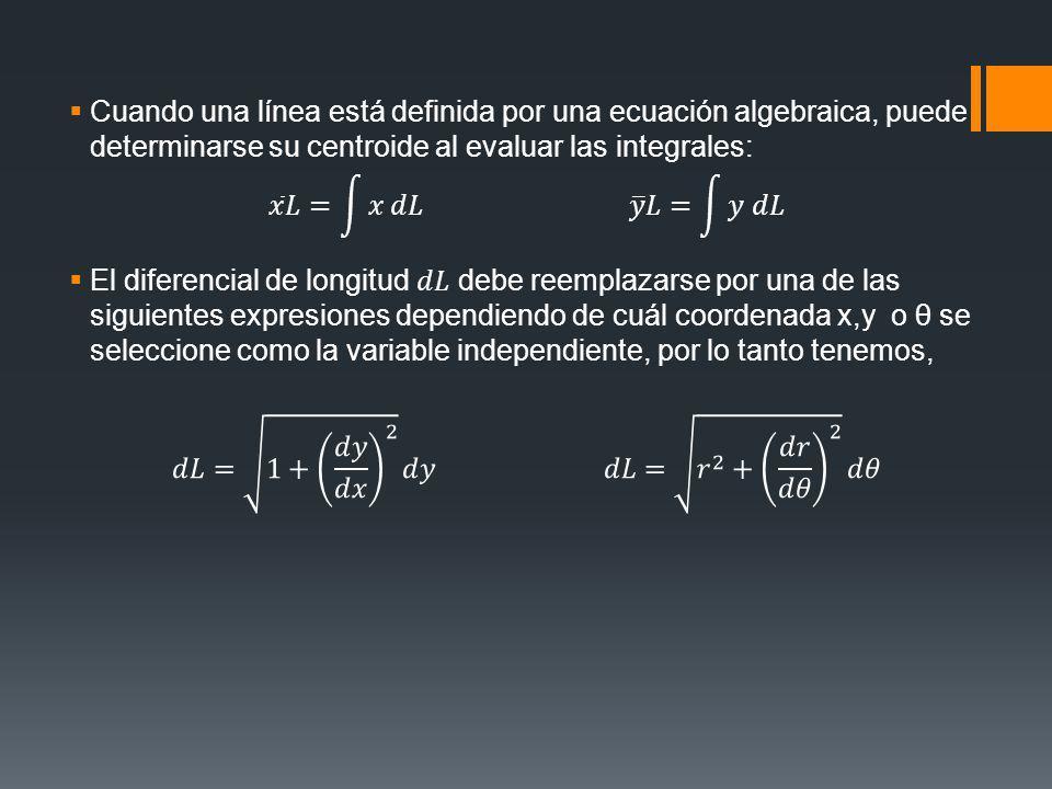 Cuando una línea está definida por una ecuación algebraica, puede determinarse su centroide al evaluar las integrales: