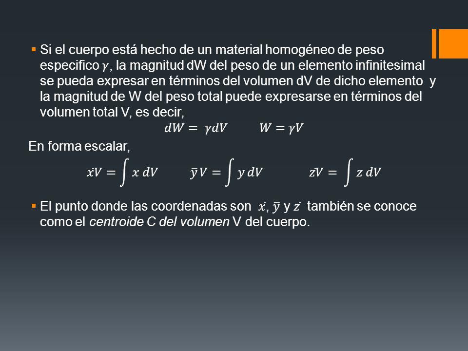 Si el cuerpo está hecho de un material homogéneo de peso especifico 𝛾, la magnitud dW del peso de un elemento infinitesimal se pueda expresar en términos del volumen dV de dicho elemento y la magnitud de W del peso total puede expresarse en términos del volumen total V, es decir,