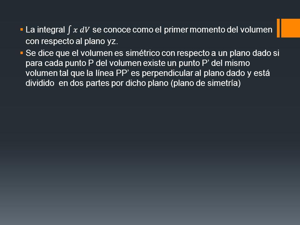 La integral 𝑥 𝑑𝑉 se conoce como el primer momento del volumen con respecto al plano yz.