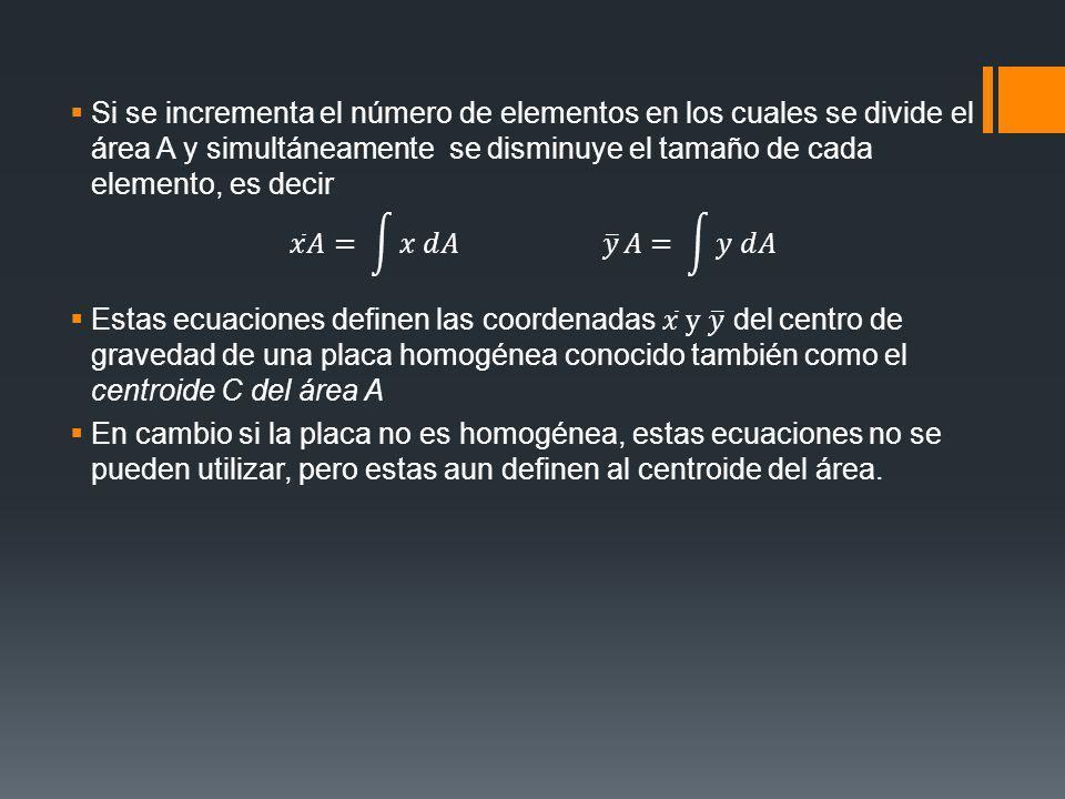 Si se incrementa el número de elementos en los cuales se divide el área A y simultáneamente se disminuye el tamaño de cada elemento, es decir