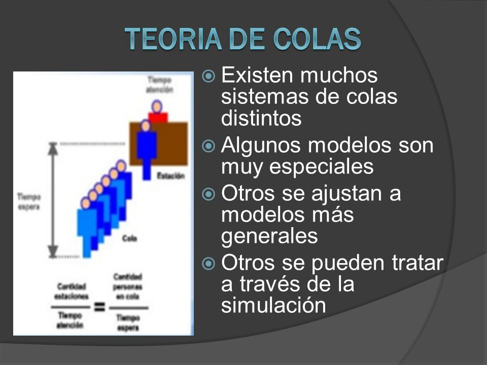 TEORIA DE COLAS Existen muchos sistemas de colas distintos