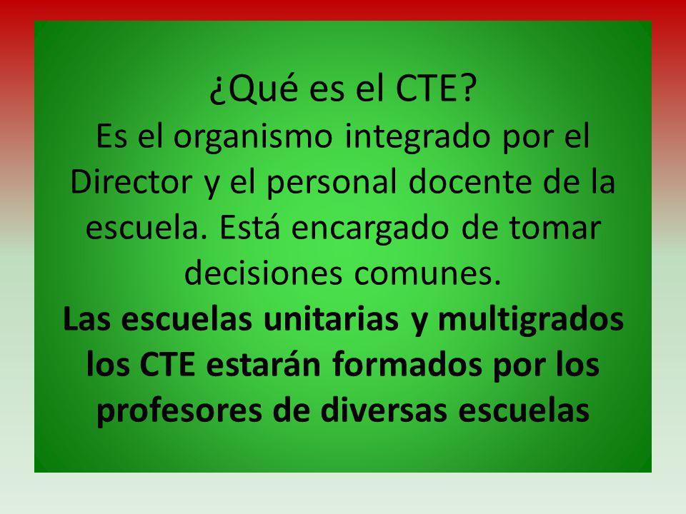 ¿Qué es el CTE. Es el organismo integrado por el Director y el personal docente de la escuela.