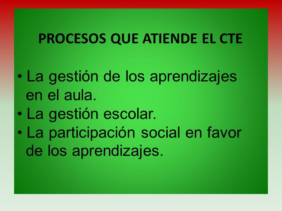 PROCESOS QUE ATIENDE EL CTE • La gestión de los aprendizajes en el aula.