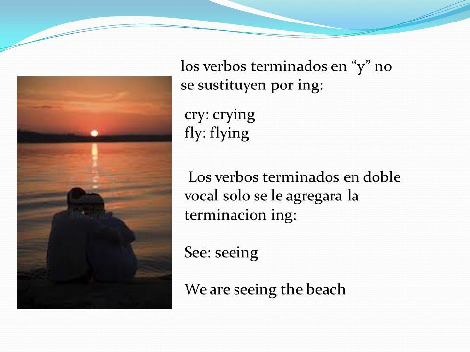 los verbos terminados en y no se sustituyen por ing: